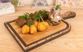 Картинка лук, укроп, хлеб, закуска, картофель, селедка