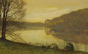 Картинка пейзаж, парк, птица, картина, лебедь, Джон Эткинсон Гримшоу, John Atkinson Grimshaw, Озеро Раундхей. Лидс