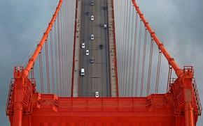 Обои США, опора, Золотые Ворота, Сан-Франциско, мост, автомобили