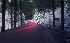 Обои дорога, лес, свет, снег, выдержка