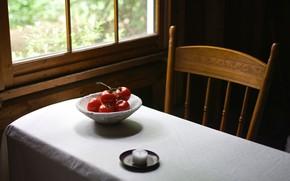 Картинка окно, стол, помидоры