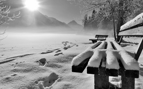 Картинка зима, снег, утро, скамья