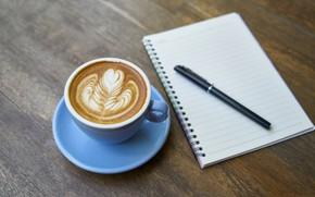 Картинка кофе, ручка, чашка, блокнот, пенка