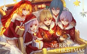 Картинка новый год, рождество, аниме, друзья