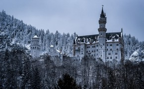 Картинка зима, лес, замок, Германия, Бавария, Germany, Bavaria, Neuschwanstein Castle, Замок Нойшванштайн, Schwangau, Швангау