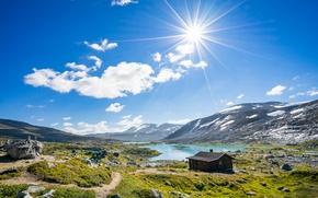 Картинка солнце, горы, дом, Норвегия