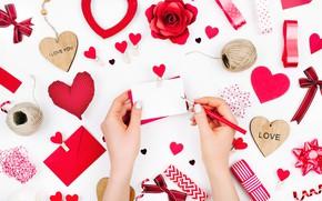 Обои red, Valentine's Day, hearts, сердечки, романтика, любовь, gift, romantic, love, decoration