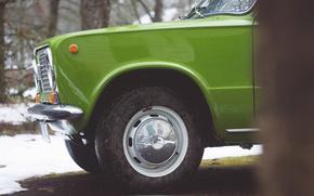 Картинка ретро, колесо, зелёный, шина, Жигули, ВАЗ-2101