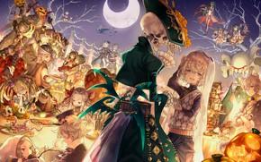 Обои merc storia, арт, хеллоуин, скелет, аниме