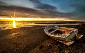 Обои лодка, берег, утро, море