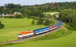 Картинка поле, лес, поезд, вагоны, Чехия, железная дорога, railroads