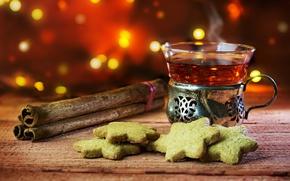 Картинка tea, корица, background, cookies, drinks, hot, боке, cinnamon, печенье, чай, выпечка, доска, пар