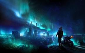 Картинка небо, пейзаж, ночь, город, человек, северное сияние, мотоцикл