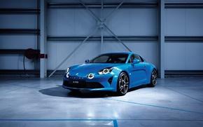 Картинка свет, синий, гараж, Renault, автомобиль, Alpine, Edition, Premiere, A110