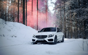 Обои сказка, amg, mercedes amg, мерседес бенц, smoke bomb, saint-petersburg, c450, mercedes c, туман, mercedes c450 ...