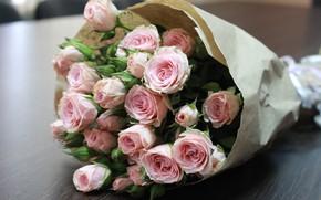 Картинка розы, букет, розовая роза, букет на столе