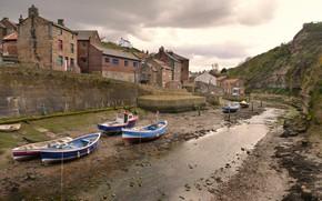 Картинка Англия, дома, лодки, русло, Стайтес