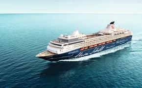 Картинка Море, Лайнер, Судно, Вид сверху, Пассажирский, На ходу, Пассажирский лайнер, Mein, TUI Cruises, Royal Caribbean …