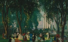 Картинка пейзаж, люди, картина, Gifford Beal, Гиффорд Бил, Встреча в Парке
