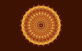 Обои круг, свет, Мандала, темный фон