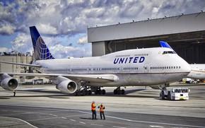 Картинка небо, Аэропорт, Boeing, Боинг, United, B747, Б747