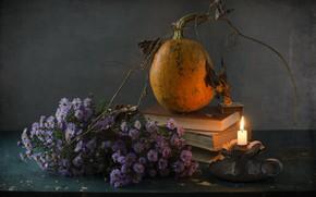 Картинка цветы, книги, тыква, натюрморт