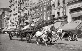 Картинка ретро, улица, дома, лошади, США, автомобиль, тройка, 1914-й год