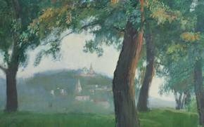 Картинка трава, деревья, Айбек Бегалин, 1986г, Вечер в Гороховце, бум. темпера