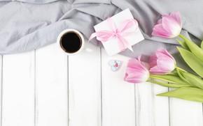 Обои праздник, подарок, Love, кофе, букет, тюльпаны, box, with, flowers, present, gift, coffee, Mothers day