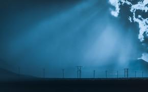 Картинка ночь, туман, лэп
