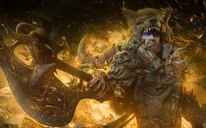 Картинка огонь, медведь, демон, воин, мужчина, варвар, raaka