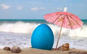 Обои песок, море, пляж, небо, облака, зонтик, настроение, отдых, волна, горизонт, ракушки, курорт, солнечный свет, пасхальная ...