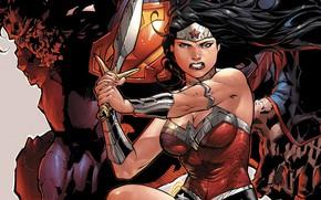 Картинка Волосы, Меч, Костюм, Герой, Супермен, Комикс, Брюнетка, Wonder Woman, Супергерой, Hero, Brunette, Superman, Кларк Кент, …