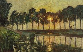 Картинка пейзаж, закат, картина, Эмиль Клаус, Деревья у озера
