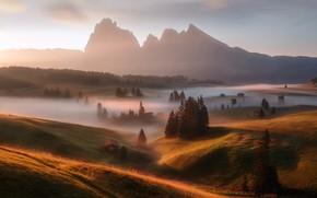 Обои свет, туман, утро, Германия, горы Альпы