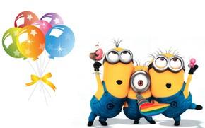 Картинка день рождения, праздник, арт, детская, миньон, Minion, днюха