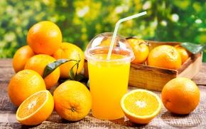 Обои Апельсин, Цитрусовые, Сок, Стакан, Еда