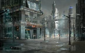 Картинка city, anime, night, street, japanese