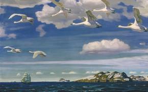 Обои холст, корабль, масло, море, птицы, скалы, Аркадий Рылов, В Голубом Просторе, пейзаж, парус