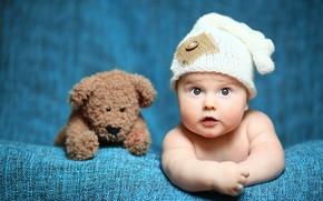 Обои игрушка, ребенок, мишка, Baby, bear, шапочка, младенец, teddy, Cute