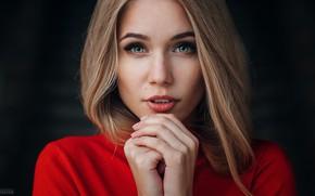 Картинка взгляд, лицо, фон, портрет, руки, макияж, прическа, блондинка, красотка, в красном, Natalia, Evgeny Freyer