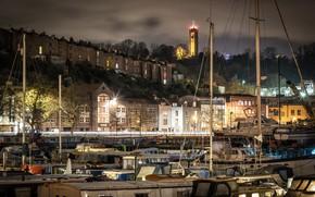 Картинка деревья, ночь, огни, река, дома, яхты, Великобритания, набережная, Bristol, Бристоль