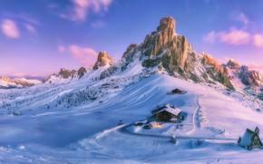 Обои горы, дом, Paint your life, снег