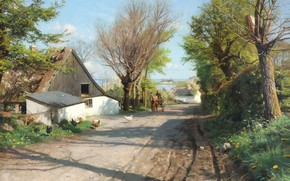 Картинка датский живописец, 1921, Петер Мёрк Мёнстед, Peder Mørk Mønsted, Danish realist painter, overlooking Roskilde Fjord, …
