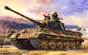 Картинка Германия, Танк, Tiger II, Тяжёлый, Третий рейх, WWII, Танкисты, Панцерваффе, Pz.Kpfw.VI Ausf.B