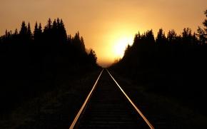 Картинка свет, закат, железная дорога