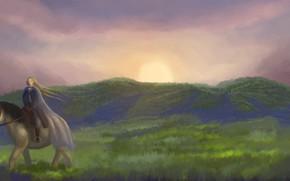 Картинка girl, sun, horse, vegetation, Denmark, by sheepyart, a homecoming