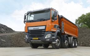Картинка оранжевый, тент, кузов, грунт, DAF, ДАФ, самосвал, 8х4, Euro6, DAF CF 460 FAD