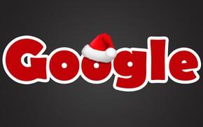 Картинка буквы, праздник, Новый Год, Рождество, колпак, google