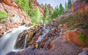Картинка вода, деревья, горы, камни, Telluride Colorado